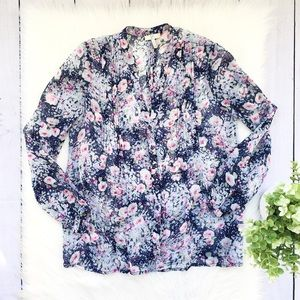 Joie Blue White Floral Silk Sheer Blouse #618
